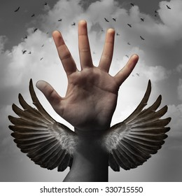 Build self confidence concept and believing in inner potential as a human hand transforming into a bird wing as a metaphor for learning and career education to gain freedom through education.