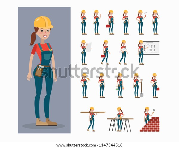 Builder character set. Woman in uniform and hardhat posing and gesturing.