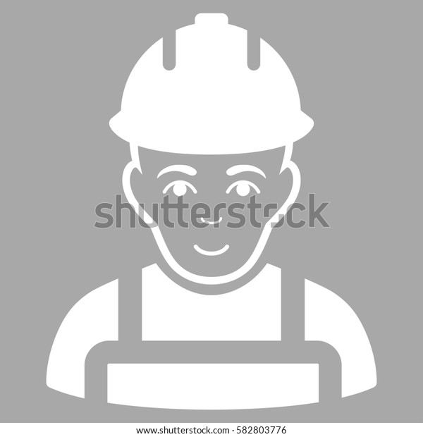 Builder glyph icon. Flat white symbol. Pictogram is isolated on a silver background. Designed for web and software interfaces.