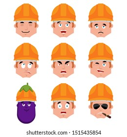 Builder set emotion avatar. sad and angry face. guilty and sleeping avatar. Worker in protective helmets sleeping emoji face. Eggplant