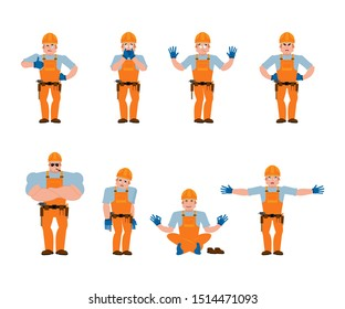Builder set poses and motion. Worker in protective helmet happy and yoga. Serviceman sleeping and angry. Service worker guilty and sad.