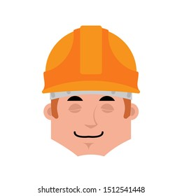 Builder sleep emotion avatar. Worker in protective helmets sleeping emoji face.