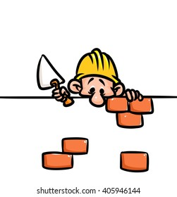Builders pause construct  cartoon illustration isolated image