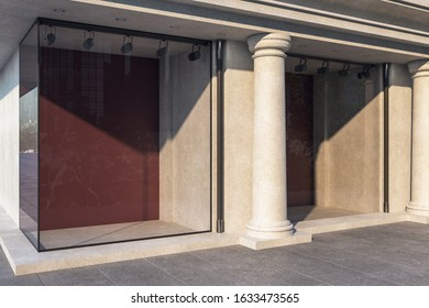 Building with blank glass showcase and columns. Advertisement and retail concept. Mock up, 3D Rendering