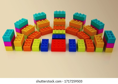 Building blocks on toned background. 3d render