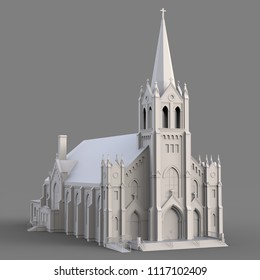 The building of the Catholic church, views from different sides. Three-dimensional white illustration on a gray background. 3d rendering.