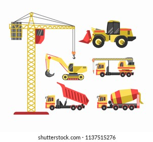 Building and construction machinery equipment  icons set