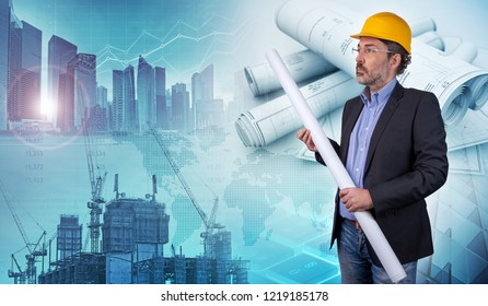 building contractor holding blueprint in a cityscape background, 3d illustration