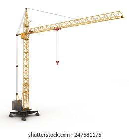 Building crane isolated on white background. 3d rednder image.