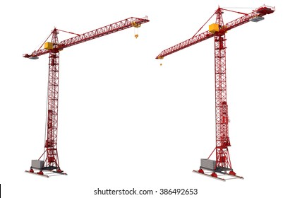 Building crane isolated on white background. Construction.
