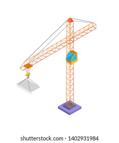 Building crane and slab poster with metal construction panel made of concrete raster illustration isolated on white background