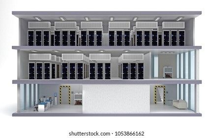 building data center with floors in section. 3d rendering