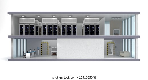 building date center isolated on white. 3d rendering