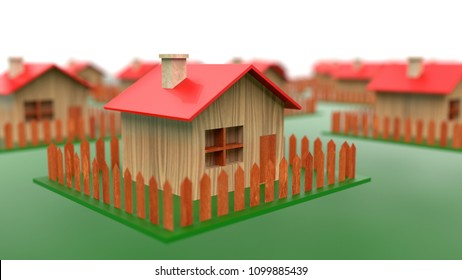 Building energy-efficient passive wooden houses 3D illustration concept