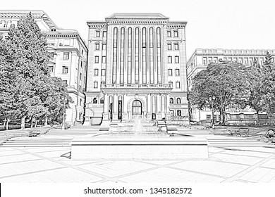 Building of the executive authority of the city of Baku. Republic of Azerbaijan