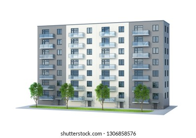 Building. High-rise building. House with a tree. 3d illustration