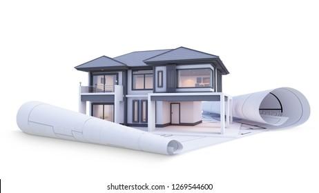 building house on blueprints. 3d render