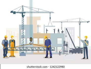 Building house. Work process of buildings construction, illustration