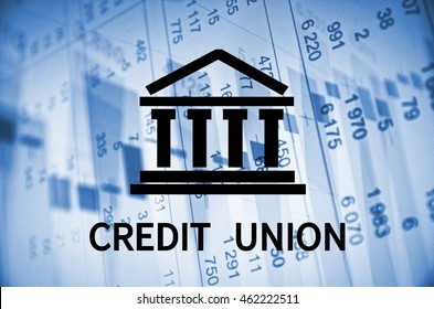 Building icon with inscription Credit union.