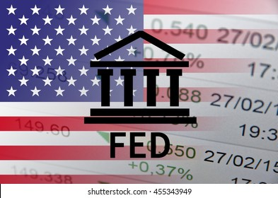 Building icon with inscription FED and flag of The United States over financial background.