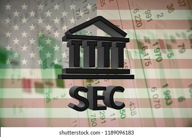 Building icon and text SEC, with the financial data visible in the background. 3D rendering.
