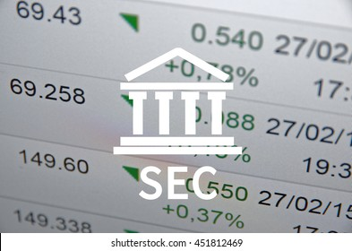 Building icon and text SEC, with the financial data visible in the background.