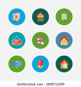 Building icons set. Home and building icons with search listing, leased and finances. Set of magnifier for web app logo UI design.
