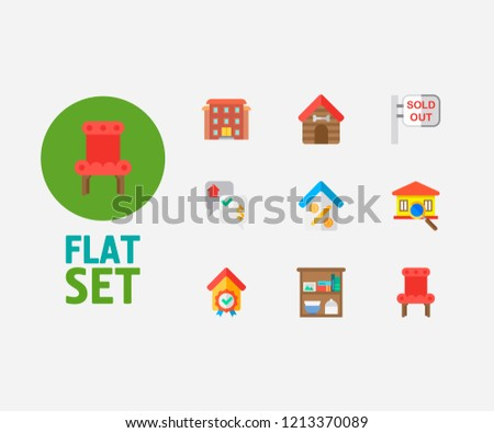 Building Icons Set Residential Area Building Stock Illustration