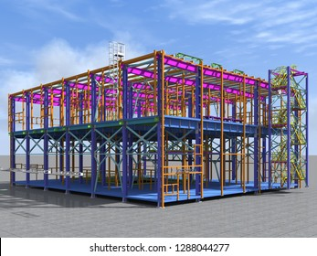 Building Information Model of metal structure. 3D BIM model. The building is of steel columns, beams, connections, etc. 3D rendering. Engineering, industrial, construction BIM background.