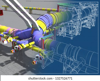 Building Information Model of metal structures of the gas pipeline. 3D BIM model. The building is of steel columns, beams, connections, tubing, etc. 3D rendering. BIM background.
