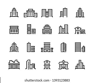 Building line icons. Business center with offices, municipal buildings, school and hospital. City constructions symbols