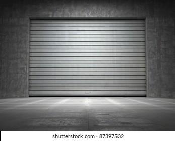 Building made of concrete with roller shutter door