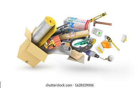 building materials and constraction tool in the cardboard box isolated, 3d illustration