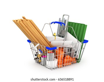 building materials in the shopping basket isolated on white background. 3D illustration