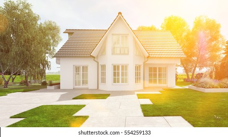 Building a new house in summer with a green garden (3D Rendering)