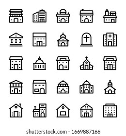 Building - Outline icons set.
