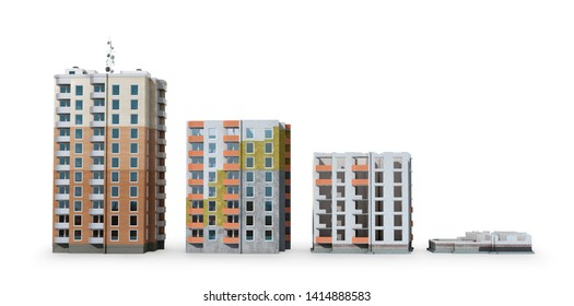 Building. Phased construction of a modern residential complex, isolated on white background. 3D illustration