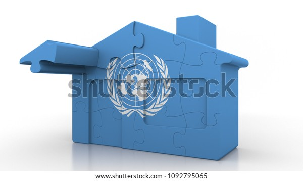 Building puzzle house featuring flag of the United Nations. Editorial conceptual 3D rendering