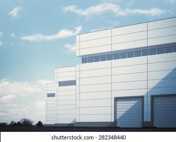 building with roller shutter doors. 3d rendering