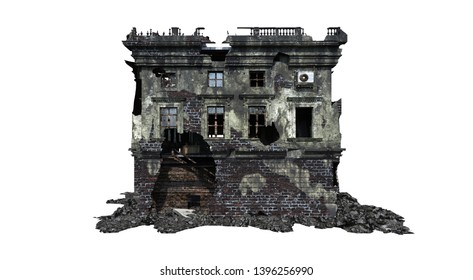 Building ruins. Isolated on white background. 3D Rendering, Illustration.