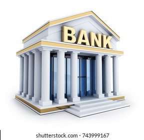 Building and sign bank. 3d illustration
