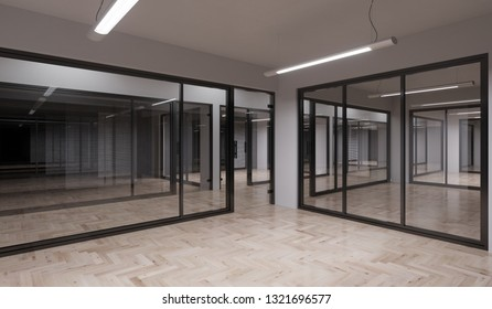 Building Story with Empty Illuminated Glass Walled Offices 3D Rendering