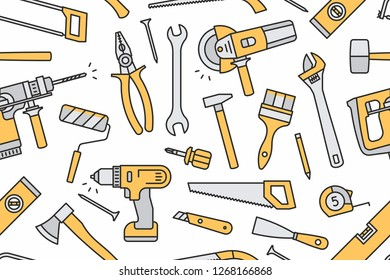 Building tools seamless pattern. Isolated on White background