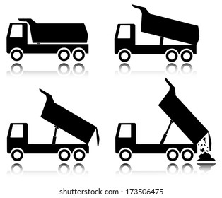Building trucks icon set on white, raster version. Abstract black truck icon collection.