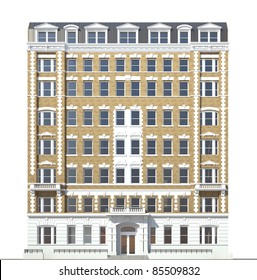 building viewed from front elevation on white background