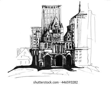 Buildings city scape sketch