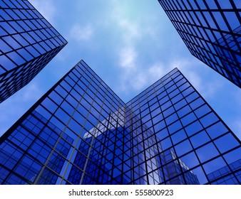 buildings glass window perspective skycraper 3D illustration