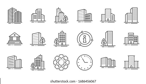 Buildings line icons. Bank, Hotel, Courthouse. City, Real estate, Architecture buildings icons. Hospital, town house, museum. Urban architecture, city skyscraper. Linear set. Quality line set.