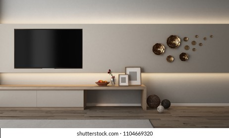 Built in TV wall cabinet with indirect lighting,gold flower, rattan ball, picture frame, flower and fruits - 3D rendering