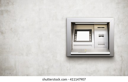 Built-in ATM machine with blank display on concrete background. Mock up, 3D Rendering